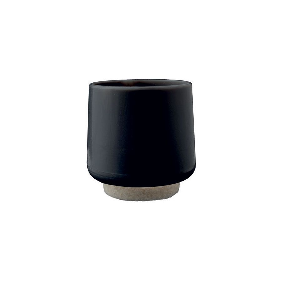 Ribbed outer round cap Black + Wool Felt Pad